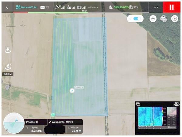 Figure 1: Example of UAV DJI M600Pro flight plan programmed in DJI Ground Station App—illustrative image