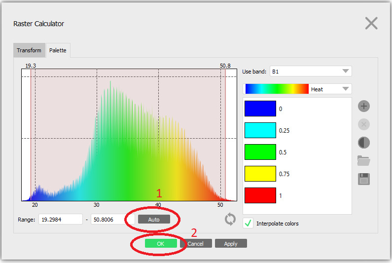 After choosing a palette, click the Auto button in Range and hit OK.