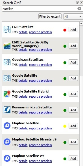 """A menu should appear on the right, you can simply search for your desired map by searching """"satellite"""", """"google"""", """"bing"""" etc. If the menu doesn't appear, see the following image."""
