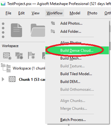 "Again in the Workflow menu, click ""Build Dense Cloud""."