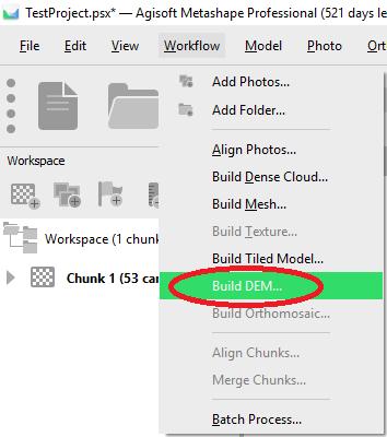 "In the Workflow menu, click ""Build DEM""."