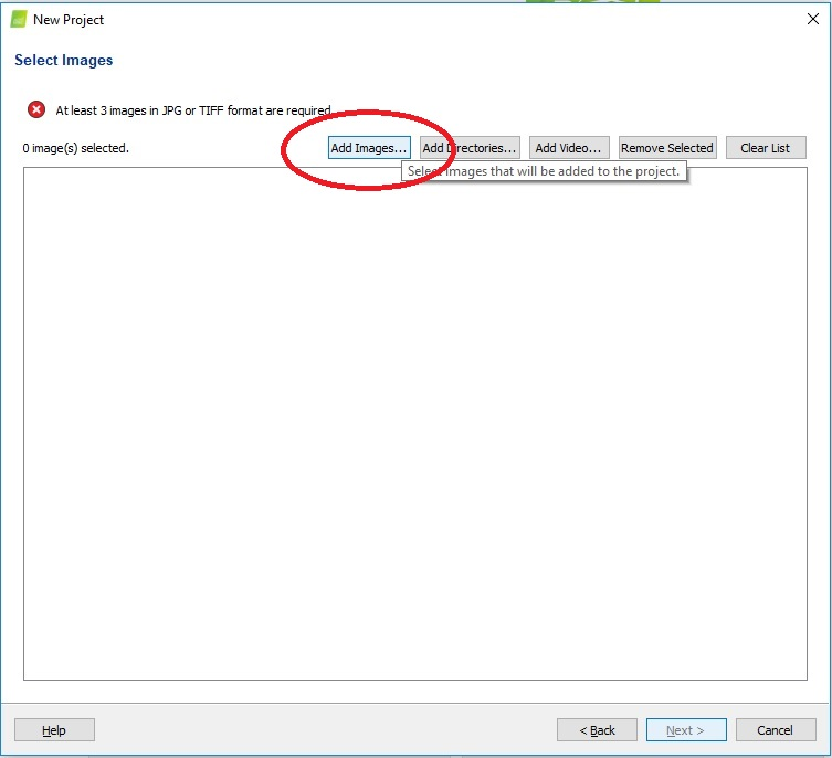 """Add images (TIFF format only), click """"Next"""", the program will read the necessary metadata"""