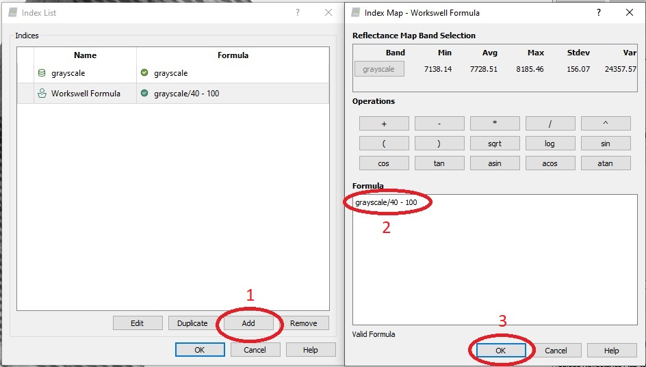 """Click on """"Indices"""" in the """"3. Index Map"""" section on the right.Click """"Add"""". Type in the formula """"grayscale/40 - 100"""""""
