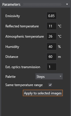 """3. In the Parameters section in the bottom left corner, you can see the current values of these parameters. Customize the parameters the way you want them to and click """"Apply to selected images"""". Wait for the software to process."""