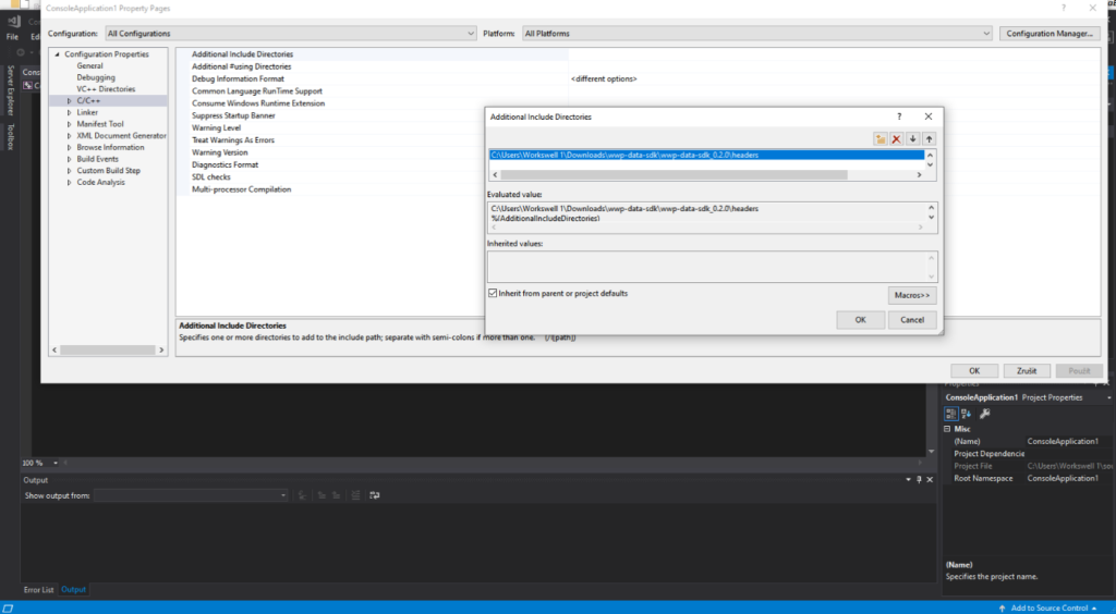 Figure 1. Adding SDK headers to Additional Include Directories