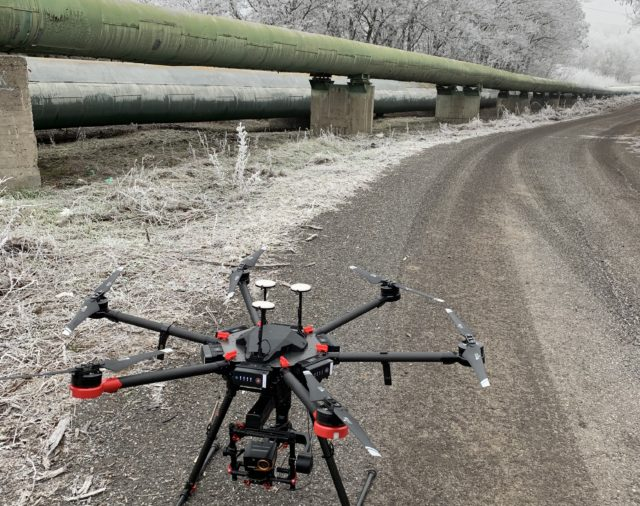 Pipeline inspection using thermal imaging camera with drone
