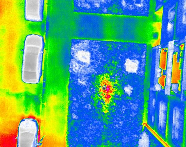 Thermal drone - hot water leaks from pipelines